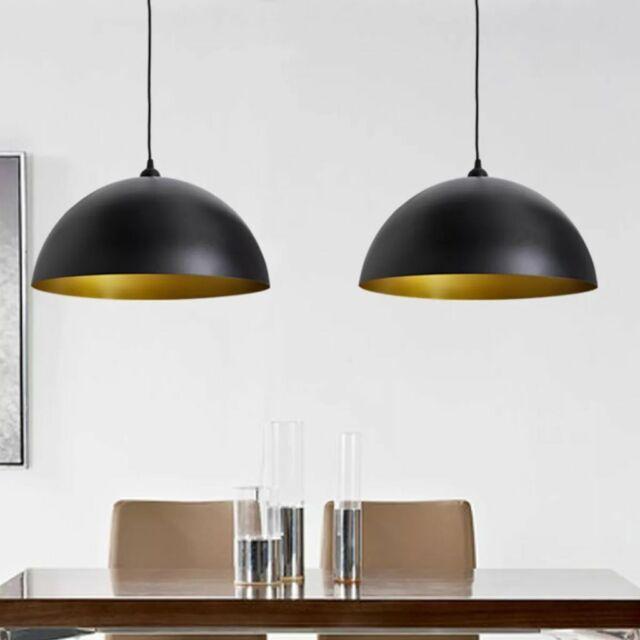 vidaXL 2x Lampada da Soffitto Regolabile Semisfera in Metallo Nero Lampadario