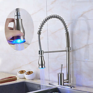 Image Is Loading Premium Brushed Nickel Led Colors Kitchen Sink Faucet