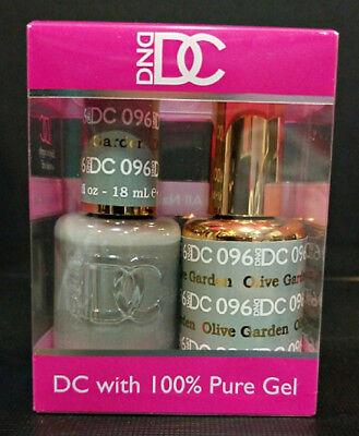 DND DC Soak Off Gel Polish Olive Garden 096 LED/UV 6oz 18ml Gel Duo Set NEW