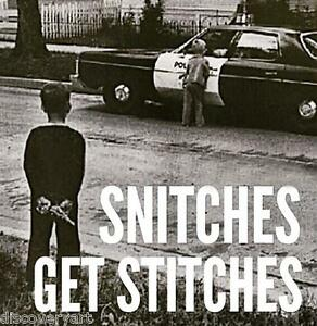 Snitches-get-Stitches-Stretched-Canvas-Wall-Art-Poster-Print-Gangster-Gun-Cops