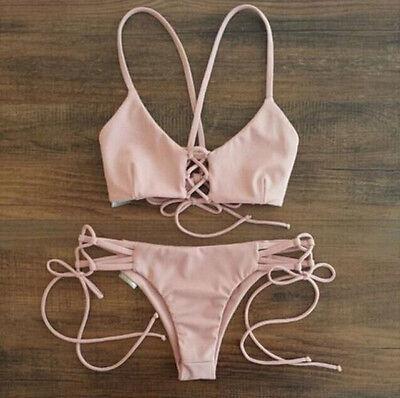 New Pink Bandage sexy Bikini swimwear Swimsuit strappy beachwear Bathing suit