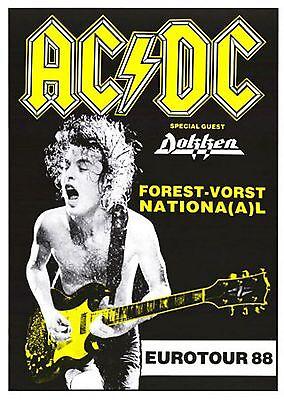 AC/DC Forest Vorst National EUROTOUR 1988 concert poster
