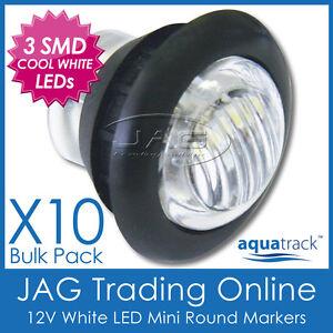 10x 12V 3-SMD LED WHITE ROUND CLEARANCE/MARKER PILOT LIGHT - Truck/Trailer/Boat