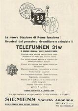 W0079 Radio Telefunken 31w - Siemens Soc. Anonima - Pubblicità 1930 - Advertis.
