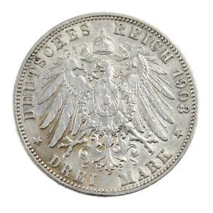 Piece-Argent-Allemagne-3-Mark-Ville-hanseatique-libre-de-Hambourg-Annee-1908