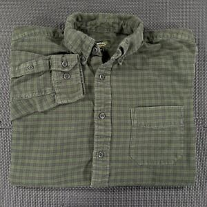 Eddie Bauer Button Up Flannel Shirt Mens Large Green Plaid Long Sleeve Outdoors