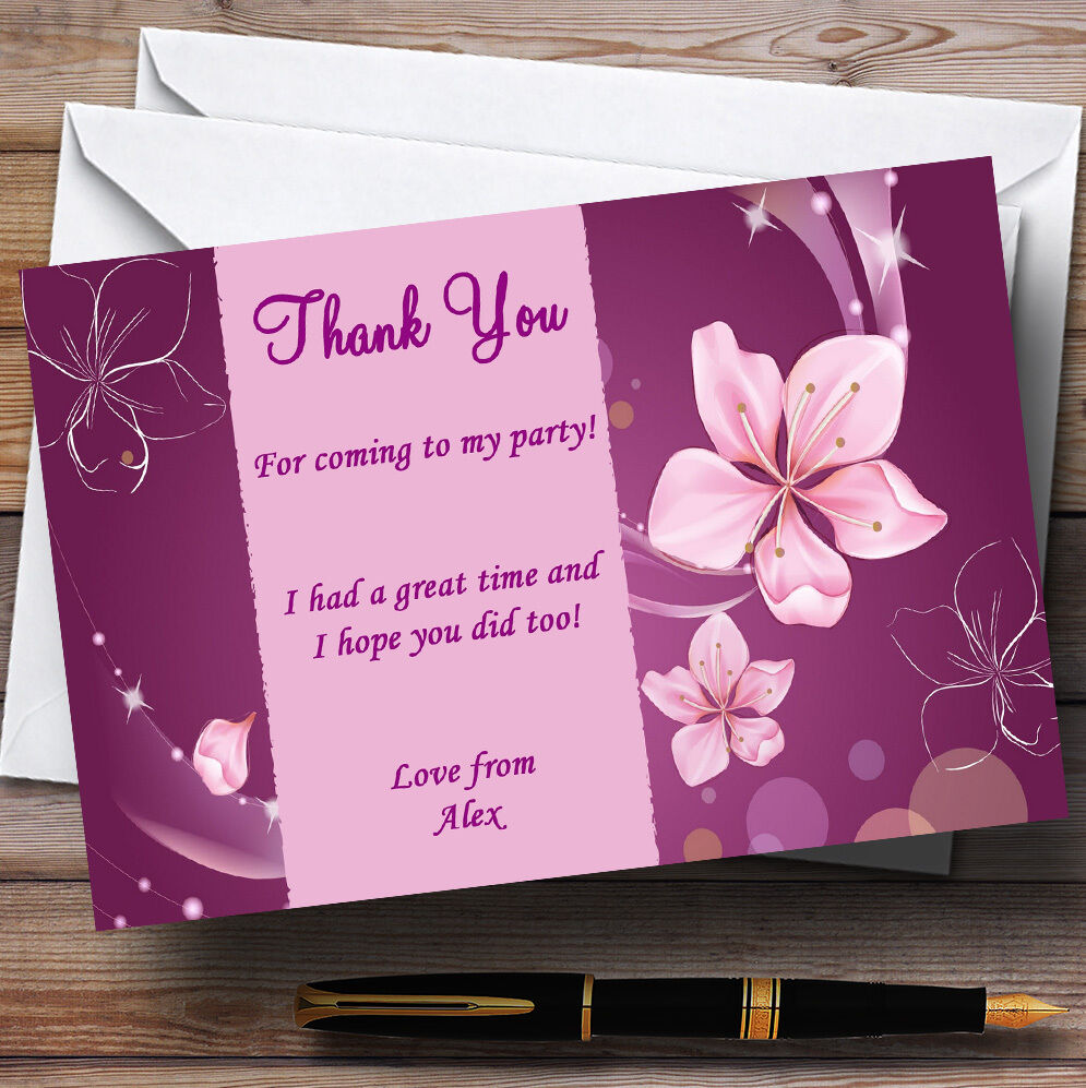 lila Flowers Personalised Party Thank You Cards