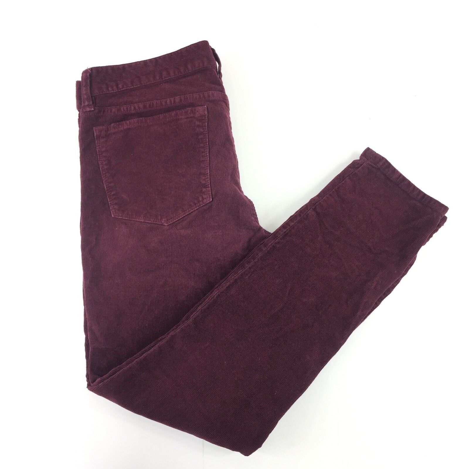 J. Crew damen Pants Sz 28 Burgundy Toothpick Corduroy Ankle Stretch Low- Rise