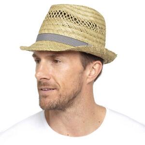 Mens Boys Summer Trilby Cloche Beige Grey Trim Straw Summer Hat  08c17dc2fb19