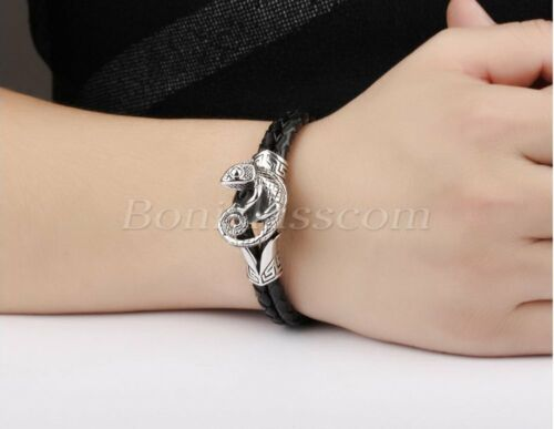 Men/'s Unique Weave Black Leather Bracelet Cuff With Stainless Steel Lizard Clasp