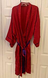 Victoria's Secret 3/4 Length Kimono Robe sz OSFA Red Damask w purple Gold Label