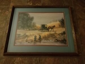 """Amish Painting by Koenig """"THE PROUD CHILDREN"""" BEAUTIFUL CONDITION FREE SHIPPING"""