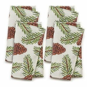 NEW-St-Nicholas-Square-Pinecone-Fabric-4-Piece-Napkin-Set-Christmas-Holiday