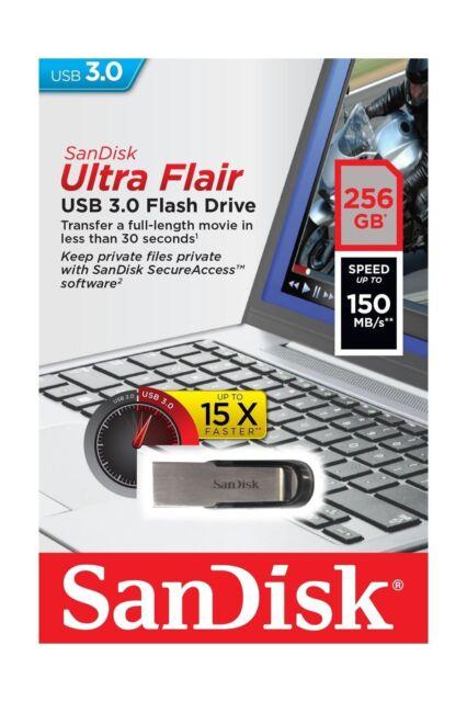 SanDisk 256GB USB 3.0 256G SD CZ73 Ultra Flair 150MB/s Flash Drive SDCZ73-256G