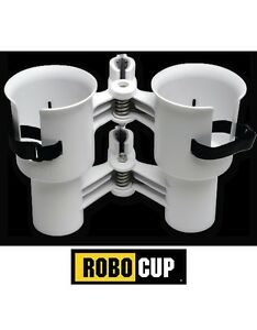 ROBOCUP WHITE Universal Clamp On Caddy Fishing Boating Camping CUP HOLDER