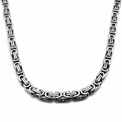 6mm Men Chain Silver Gold Black Tone Stainless Steel Box Byzantine Link Necklace