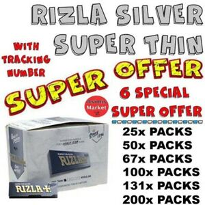 Rizla Silver Smoking Rolling Papers Super Thin RegularSize-6 SPECIAL SUPER OFFER