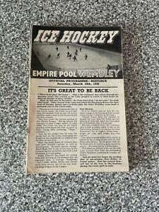 Wembley Empire Pool - Wembley Lions - Ice Hockey Programme 24/03/1956