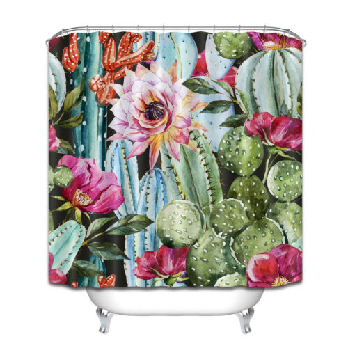 "72x72/"" Shower Curtain Set Waterproof Fabric Beautiful Watercolor Cactus Pattern"