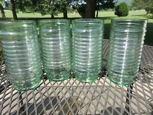 4-Vintage-Anchor-Hocking-Green-Glass-Ribbed-Manhattan-Style-6-034-Clear-Tumblers