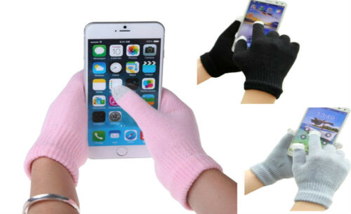 Ladies Mens Plain Touch Screen Smart Gloves Knitted Winter Warm Adults