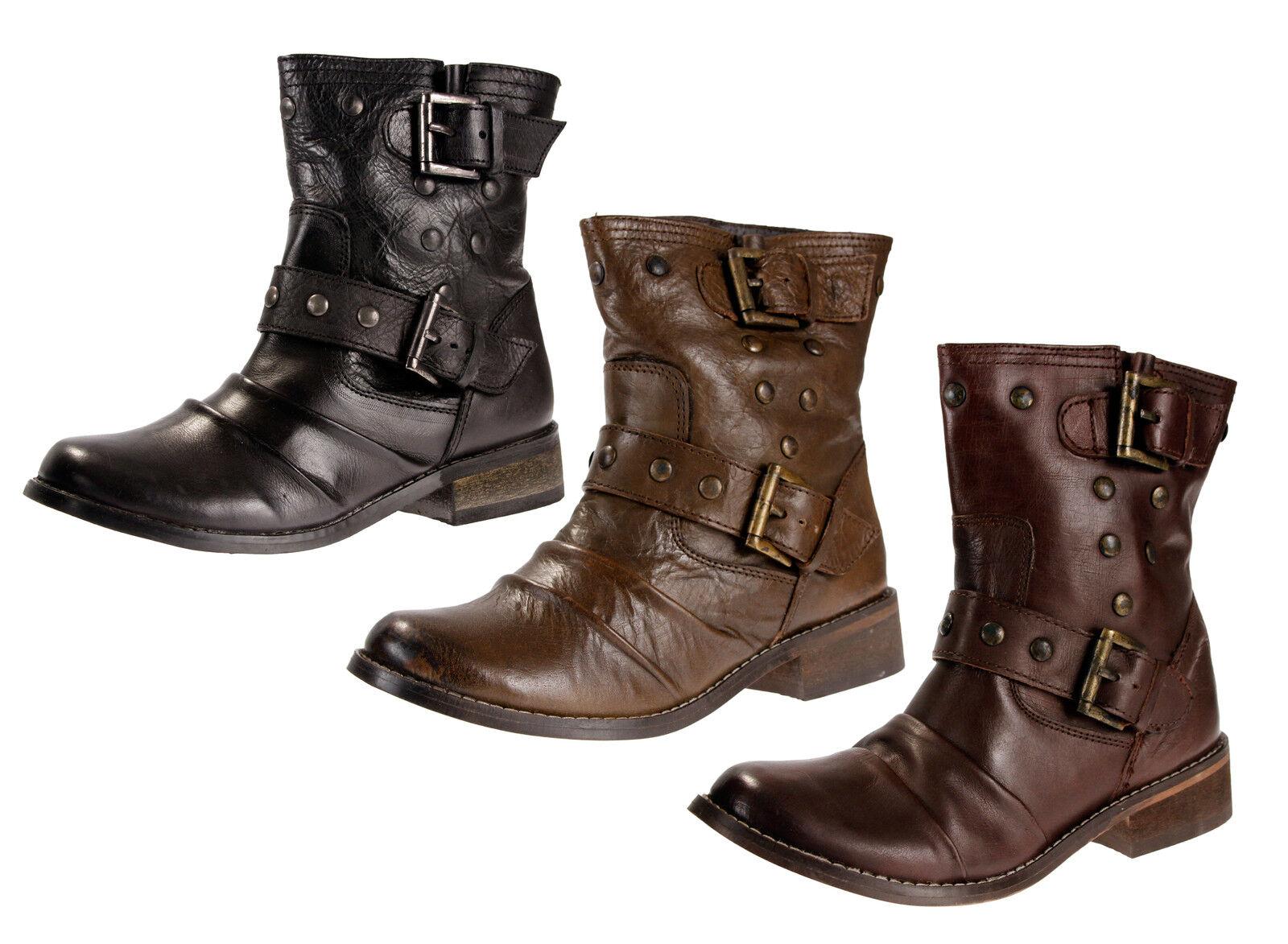 Mia XENIA Damenschuhe Ankle Moto Leder Studded Stiefel, 3 Farbes