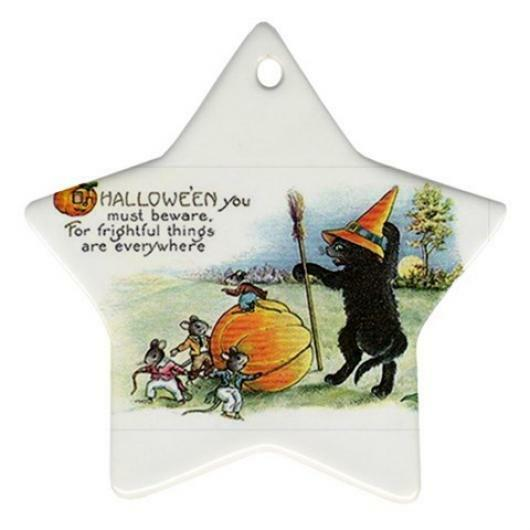 4 Halloween Black Cat Porcelain Ornaments and 1 Deck Le Chat Noir Cards