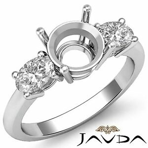 Diamond-3-Stone-Engagement-Oval-Round-Semi-Mount-Solid-Ring-Platinum-950-0-5Ct