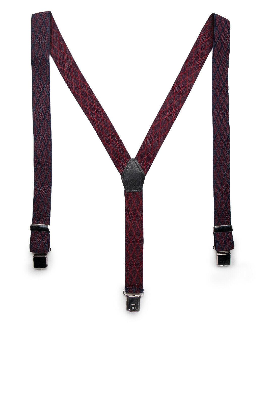 Clip Elegant Vegan Suspender on Casual Plaid Maroon Elastic Lycra & Adjustable