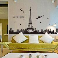 Love Paris Skyline Eiffel Tower French France Decal Vinyl Wall Sticker Home Art