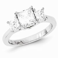 Sterling Silver 3-stone Past Present Future Princess Cut Cz Ring - Size 8