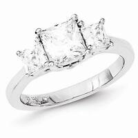 Sterling Silver 3-stone Past Present Future Princess Cut Cz Ring - Size 8