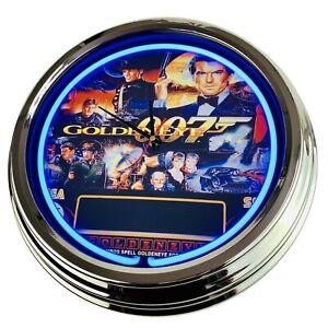 "N-0584 Wall Clock "" Pinball Goldeneye Sega 1996 Decor Neon Living Room Game"