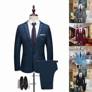 US-Men-Slim-Fit-Formal-Blazer-Suit-Tuxedo-Coat-Wedding-Groom-Pants-Trousers-SH