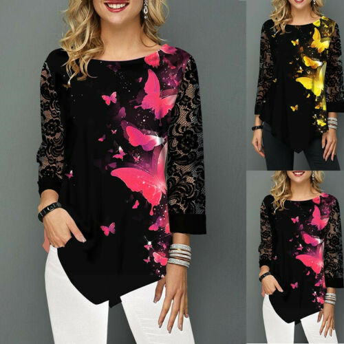 Spring Womens Lace Sleeve Blouse Top Lady Plus Size Printing Shirt Pullover 6-24