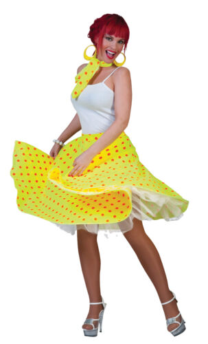 Sock Hop Skirt  Yellow Orange 50s Adult Womens Costume Retro Party Halloween
