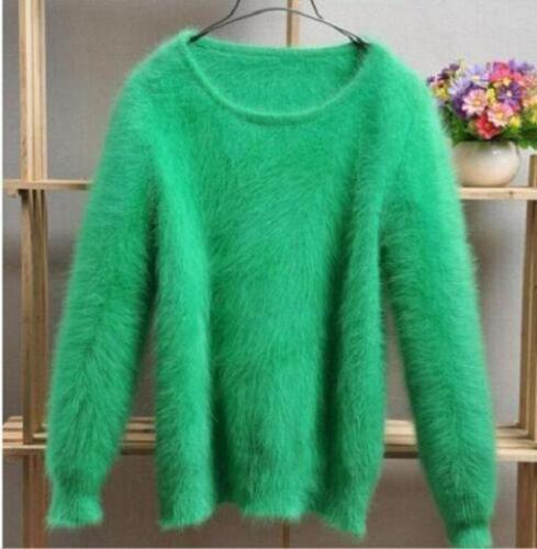 Lady/'s Winter Angora Cashmere Blend Loose Warm Sweater Fluffy Fuzzy Plush Jumper