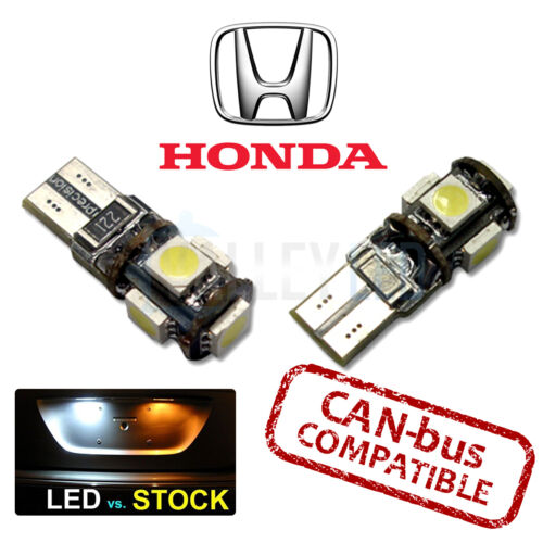 HONDA CANBUS 501 LED NUMBER PLATE 5 SMD BULBS T10 W5W WHITE