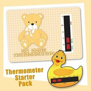 Baby Duck Bath & Brown Bear Nursery Room Thermometer Starter Pack 5060174127151
