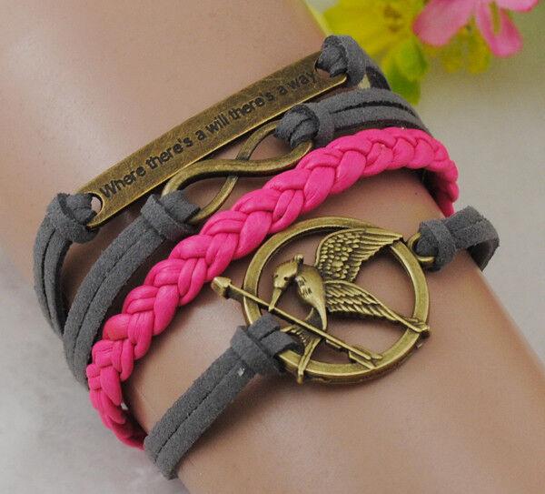 Glede infinity Antique Bronze korea velvet Leather Cute Bracelet B206