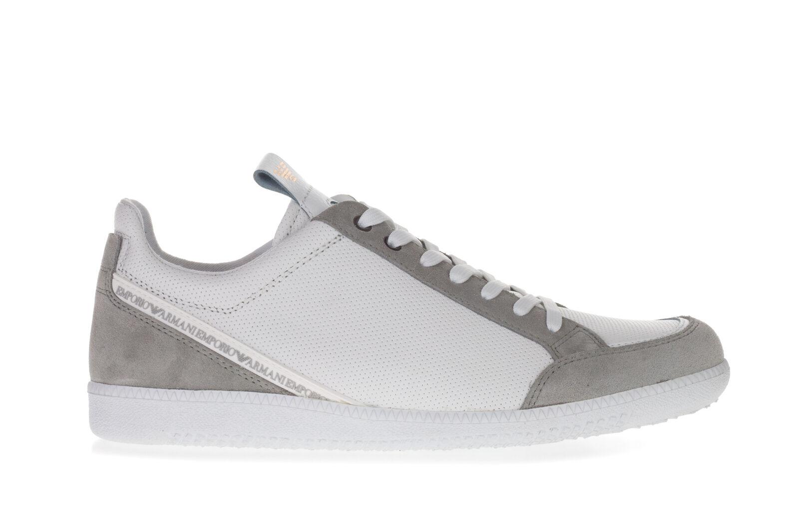 EMPORIO ARMANI Herren Turnschuhe Schuhe Aus Weiß Leder Leder