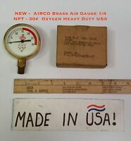 - Airco Brass Air Gauge 1/4 Npt - 30 Oxygen Heavy Duty Usa