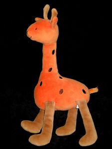 Doudou Peluche Hochet Grelot Girafe orange et marron Jacadi 34 cm