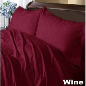 1000-Thread-Count-Luxury-Egyptian-Cotton-US-Bedding-Items-Wine-Striped