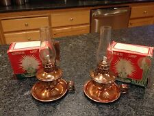 "Lot 2 Vintage 7"" Kerosene Lamps Copper Plated No 526C British Hong Kong Lanterns"
