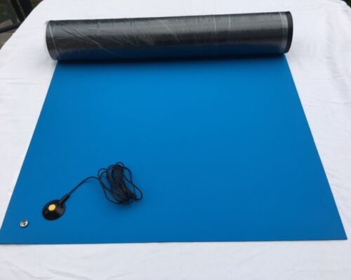 RUBBER ESD ANTI-STATIC HI-TEMP SOLDERING  MAT-24 X 48 W//GROUND CABLE-BLUE