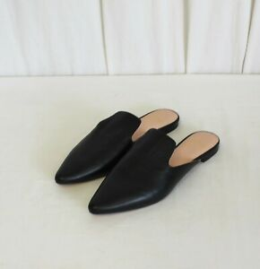 J CREW POINTED TOE SLIDES IN LEATHER