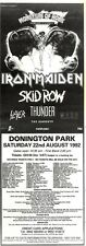 "13/6/92Pgn33 MONSTERS OF ROCK CONCERT ADVERT 1992 15X5"" IRON MAIDEN, SKID ROW, T"