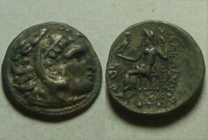 Alexander Rare genuine Ancient Greek Coin Drachm Heracles Zeus eagle/ Lampsacus