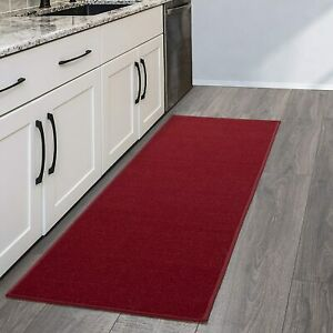 Classic Red Home Kitchen Hallway Runner Rug W Non Slip Rubber Back Bound Edge Ebay